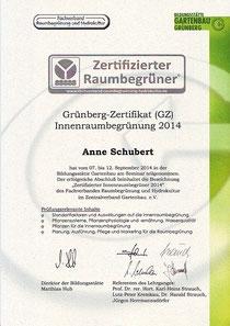 Zertifikat für Innenraumbegrünung