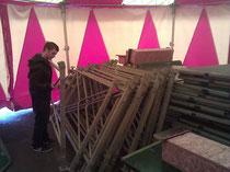 Aufbau der Zirkustribüne zum Don Bosco Fest