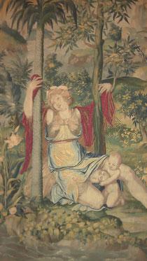 """Broderies de l'Arsenal, """"La Tenture de Diane"""", (détail : La Naissance de Diane et Apollon), Musée National de la Renaissance (photo : A. Lionetto-Hesters)."""