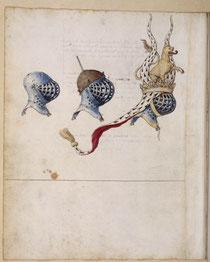 """Barthélemy d'EYCK, """"Réné d'Anjou : Livre des tournois"""", (manuscrit, vers 1460), Paris, BNF (source : WGA)."""