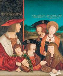 "Bernhard Strigel, ""La famille de Maximilien Ier"", 1515-1520, Kunsthistorisches Museum, Vienne. (source : http://www.albertina.at)"
