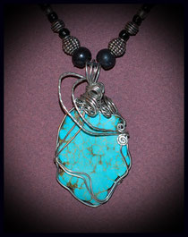 Turquoise Cage Wrapped Pendant