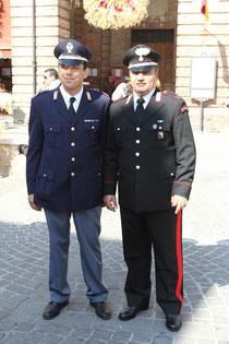 The chiefs of Amandola's Carabinieri & Polizia di Stato