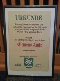 Urkunde für Clemens Hufe