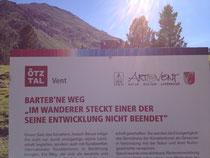 Kunst-Weg Wander-Weg Zitat Spruch Im Wanderer steckt einer, der seine Entwicklung nicht beendet Joseph Beuys Vent Alpen Österreich E5 Zwieselstein Sonneck