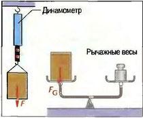 Рис. 63. Определение силы тяжести и массы