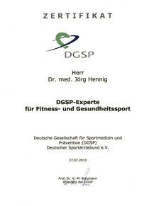 Zertifikat DGSP-Experte Fitness- und Gesundheitssport