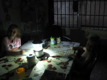 Sometimes, when it is cloudy, the kids do their school work by lantern.