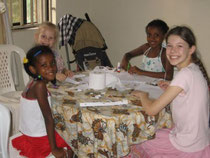 The children have made good friends with Paula and Victoria.  They are children of the director here at the YWAM base.  Here they are doing crafts at the dining room table of our guest house.
