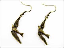 bronzefarbene Messing Schwalben Ohrringe Hänger
