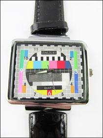 TV Uhr mit Testbild schwarzes Kunstlederarmband