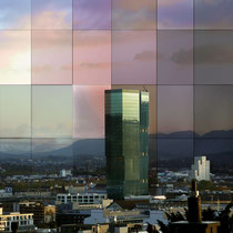 Posterdruck auf Holz aufgezogen Mobimo Tower in Zürich West
