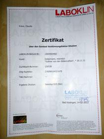 """Zertifikat über den Gentest """"Dilution"""" vom 14.02.2013"""