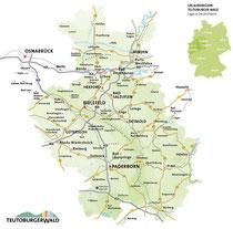 Karte der Urlaubsregion Teutoburger Wald