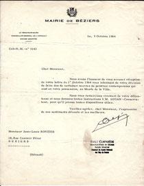 Lettre de remerciement du Maire de Béziers