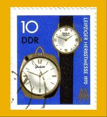 1970 Herausgegebene Sonderbriefmarke mit Spezimatic Kaliber 74 (06-25) und Kleintaschenuhr Kaliber 78