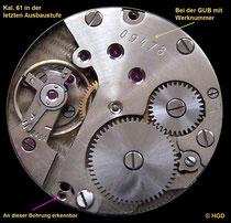 Von VEB Mechanik Glashütter Uhrenbetriebe gefertigtes Werkkaliber 61