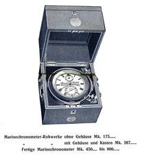 Marinechronometer aus Werbekatalog der Firma Strasser & Rhode 1909 mit Preisangabe