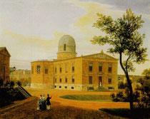 Berliner Sternwarte 1838 in der Lindenstraße Berlin Kreuzberg. Gemälde von Carl Daniel Freydanck (1811-1887)
