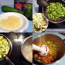 Zubereitung von Risoni mit Mischgemüse