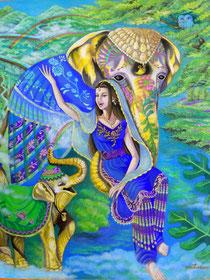 ゾウと女神 絵画 楽園のアート 立花雪 YukiTachibana