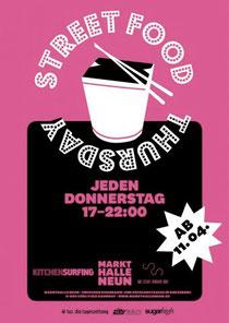 Plakat vom Street Food Thursday: Tapas aus aller Welt in der Markthalle Neun