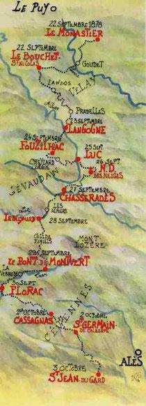 Le tracé du Chemin de Stevenson