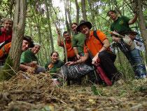 En vert, l'équipe féminine nature/3D de l'ASFAS