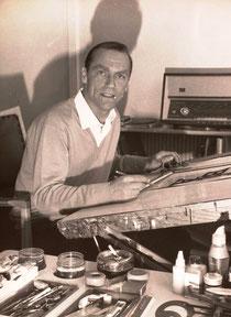 Heinz Traimer um 1965 in seinem Wiener-Atelier.