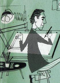 Heinz Traimer am Zeichentisch 1958. Selbstporträt (Ausschnitt aus der Geburtsanzeige für Michael Traimer).