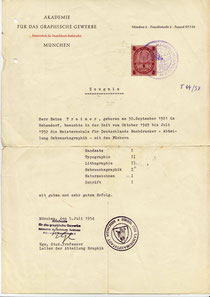 Heinz Traimer - Ausbildungszeugnis 1954. (Graduate diploma of Heinz Traimer 1954)