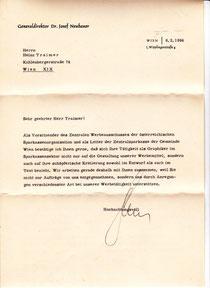 Dir. Josef Neubauer (Zentralsparkasse) bestätigt 1964 Heinz Traimers führende Rolle in der Sparkassenwerbung-Gestaltung.