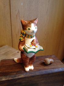 本を持つ猫 どんぐりと山猫