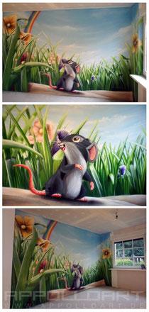 Kinderzimmer airbrush auto Wandmalerei Wohnraum
