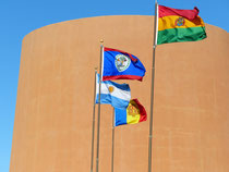 Flags against the Torreon at the National Hispanic Cultural Center, Albuquerque