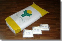 Bag of whey powder and trial product samples