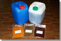 Plastic canister with fruit juice concentrates and trial product samples
