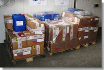 Pallets ready for shipment for parcel service and forwarding agency
