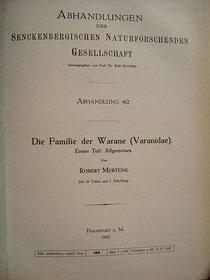 Titelblatt von Robert Mertens (1942): Die Familie der Warane (Varanidae). Erster Teil: Allgemeines.