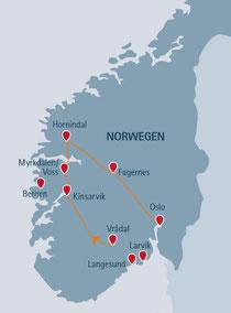 Gemütliche Autorundreise durch Norwegen