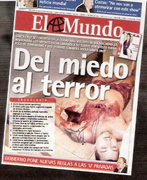 Naslovna strana El Mundo koji u otkriva razloge Floresovog ubojstva (2009)