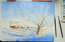 Schneelandschaften-Aquarell
