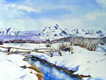 Schnee-Winter-Aquarell