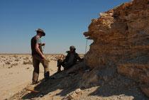 Abb. 3: Aufschluss mit den Relikten fossiler Seeablagerungen im zentralen Oman (Foto T. Rosenberg)