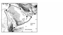 Abb. 1: Die Arabische Halbinsel mit möglichen Wanderungsrouten des frühen Modernen Menschen