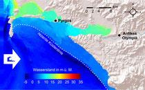 Tsunami-Überflutungshöhen in m über dem heutigen Meeressp. auf d. Grundlage numerischer Simulationen für ein extremes Starkwellenereignis aus westl. Richtung nach Ankunft der 3. Welle eines dreiteiligen Tsunami-Wellenzugs. Abb. verändert n. Röbke et al.