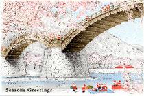 雪が降り積もる錦帯橋と桜!?