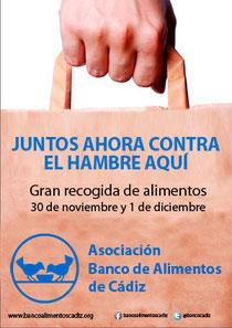 cARTEL GRAN RECOGIDA DE ALIMENTOS EN LA BAHIA DE CADIZ