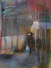 Le Moulin à eau, pastel par  Patrick Hébert