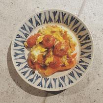 トマトとパプリカ、きのこのスクランブルエッグ